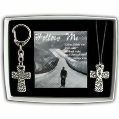 Follow Me Pebble Cross Pendant & Key Ring Gift Set w/Ichthus On Blk Cord www.Gods411.org
