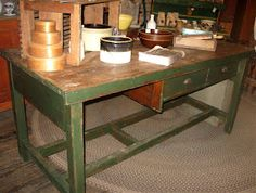 Wonderful old industrial worktable ~ can be used as a great kitchen island!