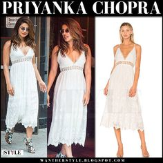 Priyanka Chopra in white lace midi dress New York City July 2017