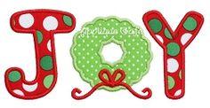 Joy 3 Applique - 3 Sizes! | Christmas | Machine Embroidery Designs | SWAKembroidery.com Applique Cafe