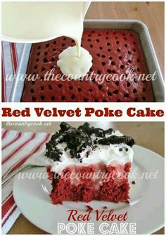 Red Velvet Poke Cake Recipe !!