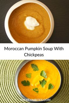 A sweet and savory Moroccan pumpkin soup with chickpeas is a perfectly creamy alternative to a typical pumpkin soup. This vegan pumpkin soup is also packed with protein because of all of the plump chickpeas.