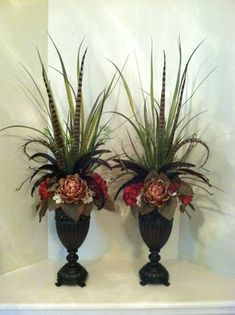 , Perfect for the coat to flank a television or mirror. Artichoke & Hydrangea Silk Floral Arrangements by Greatwood Floral Designs. , Perfect for the coat to flank a television or mirror. Artificial Floral Arrangements, Church Flower Arrangements, Fall Floral Arrangements, Church Flowers, Beautiful Flower Arrangements, Fake Flowers, Silk Flowers, Garden Types, Diy Garden
