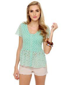 Pep Sister Mint Blue Lace Top #lovelulus