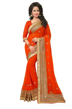 Orange Colour Georgette Designer Zari Embroidery and Mirror Work Saree