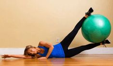 Ball Leg Lifts Using an exercise ball when strength training is a great way to add a little bit more challenge to basic exercises Since you have to work hard - health-fitness Inner Thight Workout, Best Inner Thigh Workout, Stability Ball Exercises, Thigh Exercises, Core Stability, Best Weight Loss, Weight Loss Tips, Tone Inner Thighs, Body Squats