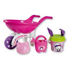 De Androni Hello Kitty speelgoed kruiwagen heeft een lengte van 51cm en is uitgevoerd in leuk Hello Kitty design. Met deze kruiwagen kun je van alles vervoeren; zand, stenen of andere materialen. Tevens wordt de kruiwagen geleverd met leuke accessoires: een zandvorm, een gieter met een inhoud van 0,5 liter én sproeikop en een emmer ø 13cm met hengsel, zeef, harkje en schepje. Alle onderdelen zijn gemaakt van kunststof. - Hello Kitty Kruiwagenset