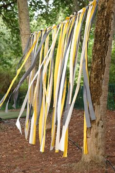 camp decorations Young Women Inspiration: Girls Camp Danna Quinton (lame picture, but some nice ideas) Yellow Grey Weddings, Gray Weddings, Yellow Wedding, Wedding Colors, Wedding Flowers, Diy Photo Booth Backdrop, Ribbon Backdrop, Streamer Backdrop, Paper Streamers