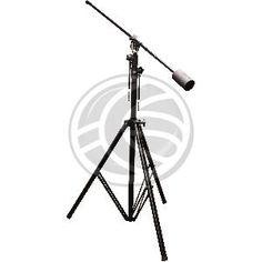 Soporte para micrófono de pie con jirafa y de gran formato. Soporte tipo jirafa con brazo superior contrapesado, extensible y orientable, y con base tipo trípode para máxima extabilidad
