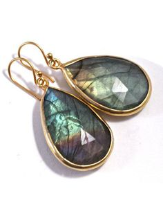 Magical Gray Gemstone Earrings Large Labradorite by amyfine