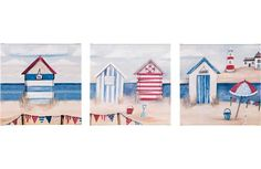 Painted Beach Huts Beach Huts Art, Beach Art, Seaside Art, Seaside Beach, Nautical Blinds, Duck Egg Blue Bedroom, Beach Quilt, Beach Crafts, Beach Scenes