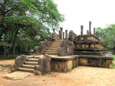 The lowest tier of the 12th century Council Chamber at Polonnaruwa, Sri Lanka, bears a frieze of elephants.