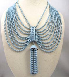 Art Deco Festoon Necklace, Blue Enamel Brass Beads Ten Strand Tassel 1930s Jewelry Bridal Something Blue