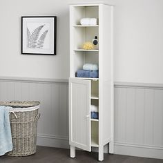 Buy John Lewis St Ives Tall Boy Online at johnlewis.com, £250. H163.2 x W40 x D40cm. Room for towels and ladies products, cough, in the cupboard, and display items on top.