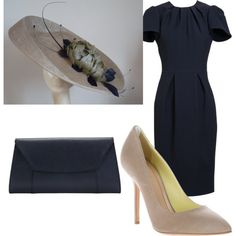 Bronze & Navy Derby Outfit with Saucer Hat Race Day Outfits, Derby Outfits, Derby Day, Royal Ascot, Navy Blue Dresses, Kentucky Derby, Crowns, Collages, Fashion Styles