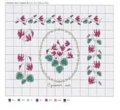 Cyclamen coum-Marie-Anne R+йthoret-M+йlin Small Cross Stitch, Cross Stitch Rose, Cross Stitch Flowers, Biscornu Cross Stitch, Cross Stitch Patterns, Butterfly Embroidery, Couture, Small Flowers, Le Point