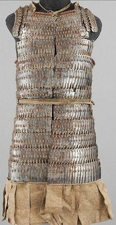 Tibetan lamellar armor (byang bu 'i khrab),16th–18th century, iron and leather Dimensions: L. 38 in. (96.5 cm); W. 29 in. 73.7 cm). Met museum.