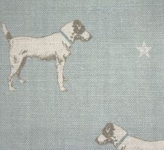 Jack All Star Fabric A linen fabric featuring a charming Jack Russell print with subtle cream stars on duck egg.