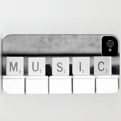 Music iPhone 5 case Scrabble Piano keys Black and White Fine Art Photography Phone cover accessory Musician Pianist gift. $45.00, via Etsy.