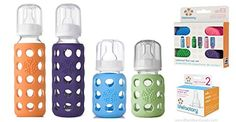 Lifefactory Glass Baby Bottles 4 Pack w Colored Caps  Stage 2 Nipples 9 oz  4 oz *** Continue to the product at the image link.