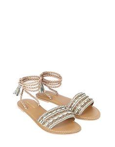 Janelle Embelished Lace Up Sandal