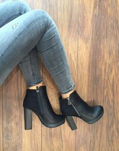 - Women shoes Flats Receptions - Women shoes For Fall High Heels Black Heeled Ankle Boots, Ankle Shoes, High Shoes, Shoes Heels Wedges, Wedge Boots, Black Heels, Shoe Boots, Black Boots, Flats