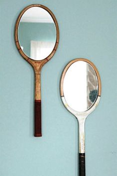 Tennis rackets repurposed as mirrors