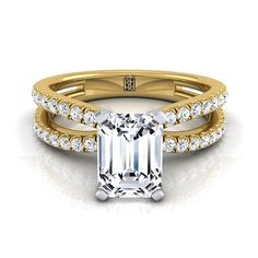 Emerald Cut Diamond Engagement Ring With Pave Split Shank In 14k Yellow Gold (1/3 Ct.tw.)