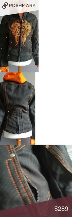 Authentic Motorcycle Riding Jacket For genuine motorcycle style experience. Countoured lady fit design this hooded jacket has gathered sides with a back zipper to allow more comfort. Accordion panels for increase flexibility. Textile material built for abrasion resistance and increase airflow. Ventilated biceps and back panel for increased airflow. Detachable bright orange hoodie can be worn separately. Has thumb holes in sleeves. Jacket headphone wire holder and waterproof inner pocket…