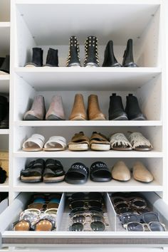 walk in closet // dream closet // shoe storage // sunglasses storage // organize // accessories // @caclosets // eatsleepwear // interiors // home