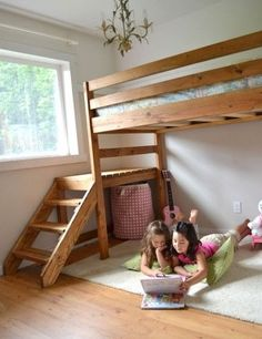 I'm thinking I like this better than the built ins. Two loft beds, sharing the landing with plenty of play space underneath.  Plus, we can take them with us if we wind up moving!!! :) Oh yes, this will happen!
