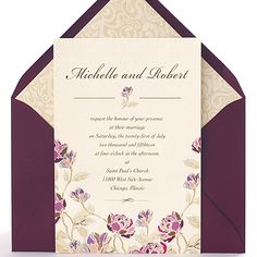 Classical and eleganr Wedding Invitation with vintage design of blossoms. Wedding Card Design, Wedding Cards, Classy Wedding Invitations, Vintage Designs, Dream Wedding, Marriage, Rose, Hawaii, Weddings