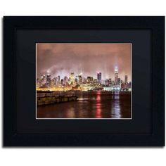 Trademark Fine Art Midtown Manhattan Over the Hudson River Canvas Art by David Ayash, Black Matte, Black Frame, Size: 11 x 14