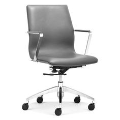 Herald Gray and Chromed Steel Low Back Office Chair