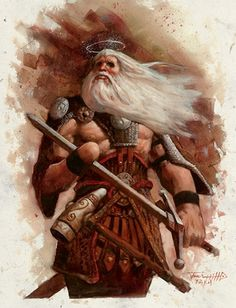 Tyr the Norse god of courage, honour and the unbroken word. He shared with Odin the duty of choosing the heroes the Valkyries transport to Valhalla.