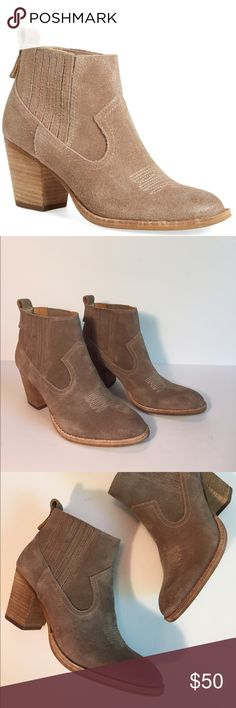 """NIB Dolce Vita Jones suede ankle boot Sz 7.5 $130 Dolce Vita Jones taupe suede ankle boot New in box  retail for $130  Size 7.5  Discreet side gorges ensure an impeccable fit for this wear anywhere suede bootie  almond toe cut  chunky stacked heel  2/5"""" heel  4"""" boot shaft  elastic gored insets  leather upper / textile and synthetic lining and synthetic sole Dolce Vita Shoes Ankle Boots & Booties"""