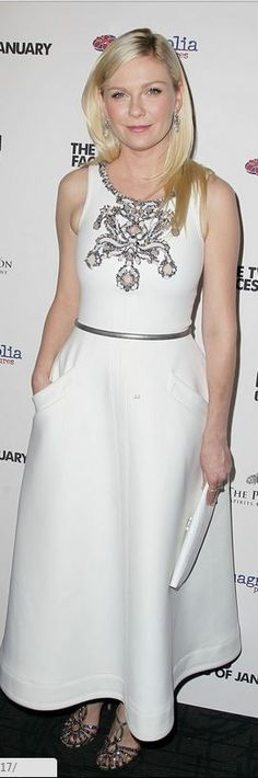 Who made  Kirsten Dunst's white dress and handbag that she wore in New York on September 17, 2014