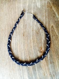 Tie Me Up Necklace-Black hand woven cord and diamanté necklace. Looks great on and it's only £16.