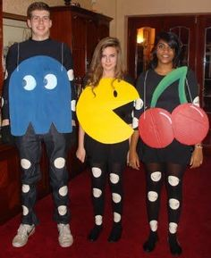 pacman costumes black pants and long sleeve black shirt white cut out circles black elastic cording yellow cardboard bluered cardboard for ghost on - Toy Story Alien Halloween Costume