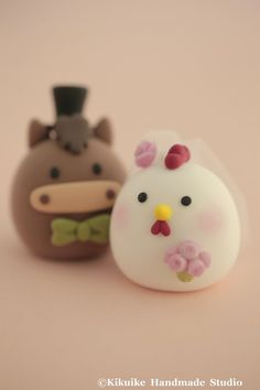 Horse and Chicken wedding cake topperChiness Zodiac by MochiEgg, $65.00