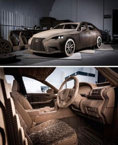 This full-size model Lexus was painstakingly constructed from 1,700 pieces of cardboard