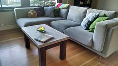 I made a concrete slab coffee table in my studio apartment