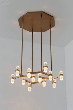 Editors' Picks: 90 Statement Light Fixtures | San Pietro pendant in brushed bronze by Jiun Ho. #design #interiordesign #interiordesignmagazine #products #lighting