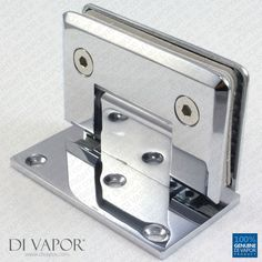 90 Degree Wall Mounted Shower Door Glass Hinge | Chrome Plated | Single Sided | Tapered Edges