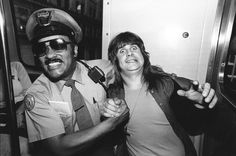 Ozzy Osbourne being arrested after biting the head off a bat onstage (1982)