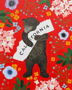 """I Love You California"" Red Print Three Fish Studios, San Francisco"