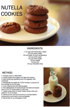 Nutella Cookies- magical triple-chocolate goodness. Perfect for ice cream sandwiches, they don't freeze so hard like other cookie recipes. Worth every calorie, super-easy too. Uses self-rising flour, but you'll use up the bag making these cookies over and over again!