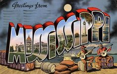 Greetings from Mississippi - Large Letter Postcard    Production Date: Circa 1940  Source Type: Postcard  Printer, Publisher, Photographer: E. C. Kropp Company (#17732)  Postmark: July 17, 1942, Meridian, Mississippi  Collection: Steven R. Shook