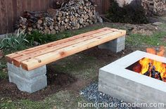 DIY Backyard Fire Pit Ideas On a Budget Fire pits are created from many kinds of materials. A fire pit may also serve as an important focus in your outdoor landscape design. Cinder Block Fire Pit, Cinder Block Bench, Cinder Blocks, Cinder Block Ideas, Cinder Block Furniture, Fire Pit Bench, Fire Pit Seating, Concrete Bench, Concrete Fire Pits