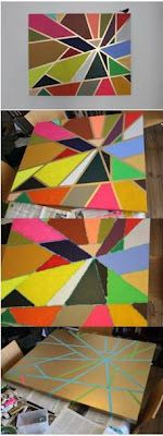 spray paint the canvas with gold then use tape to make the pattern of your choice, next paint exposed canvas then remove tape....voila.